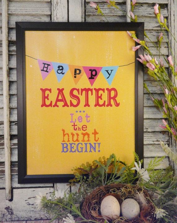 Happy Easter egg hunt sign digital - banner yellow chick uprint NEW vintage art words primitive old pdf 8 x 10 frame saying