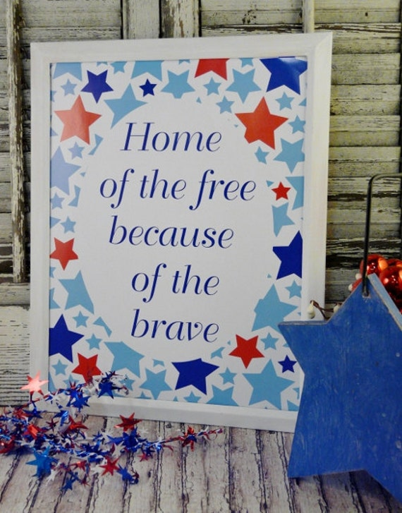 Home of the free sign American digital - pdf blue 4th of july uprint art words vintage style primitive paper old  Patriotic saying