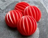 Vintage Cabochon-Vintage Czech Orange Melon Pumpkin Fluted Glass Round 24mm Cabochon Stones-4 Stones