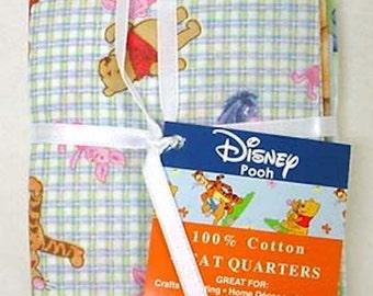 Disney Winnie The Pooh Fat Quarters 100% Cotton Lot Of 4