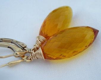 Honey Quartz Luxe Gold Fill Earrings