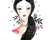 Night Hair Goddess. Art Illustration. Art print