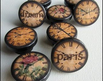 Antique Clock Knobs • Paris Knobs • Eiffel Tower • Roses • Vintage Clock Knobs • Dresser Knobs