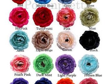 "5 pcs Stiff Large 4"" Ruffle Ranunculus - YOU CHOOSE COLORS - Imported"
