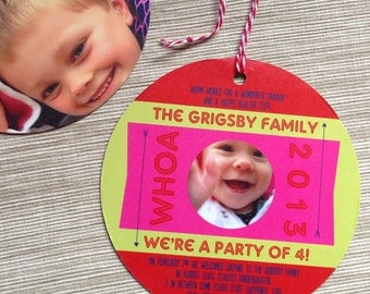 Photo Christmas Card Custom Ornament Style Unique Round Card with Hole Punch and Twine - DESIGN FEE