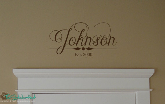 Family Name Vinyl Wall Decal Established Year Last Name