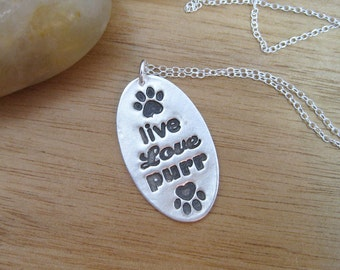 Cat Necklace Live Love Purr Necklace Eco Friendly Jewelry Recycled Silver Animal Lover Jewelry Cat Jewelry Rescue Necklace Paw Print Jewelry