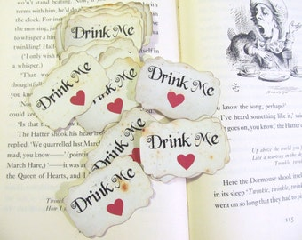 Alice Red Heart Drink Me or Take Me or Eat Me Party Favor Adhesive Label Stickers - Set of 18