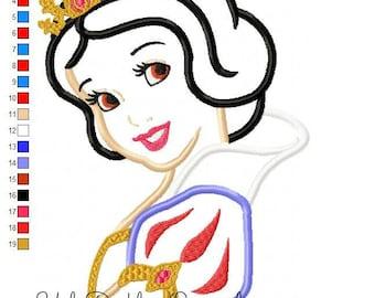 Snow White Applique Design Princess Machine Embroidery© Digital Download UDOAppliques™
