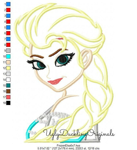 Elsa Applique Design Frozen Princess Machine Embroidery