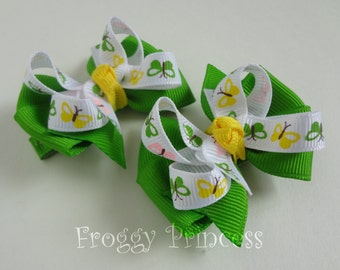 Butterfly Pigtail Set - Piggy Bows - No Slip Velvet Grips