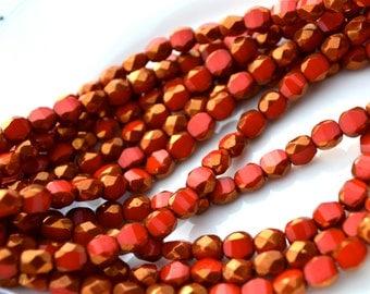 Red Bronze Thru Cut 6mm Faceted Czech Glass Beads   25