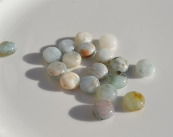 Organic Aquamarine Coin Beads   10