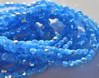 Cornflower Blue AB 4mm Faceted Fire Polish Round Beads   50