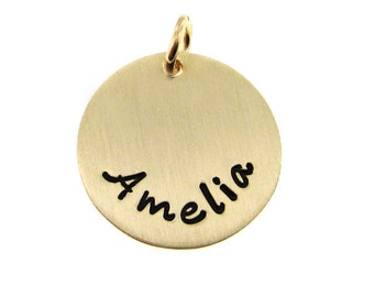 Hand Stamped Jewelry - ADD a Name or a Date Charm - 5/8 inch Round 14k Gold Filled tag (AO064)