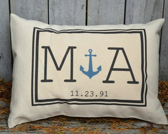 Personalized Couples gift, Anchor pillow, valentine gift idea, monogram pillow, wedding, with date. Cotton anniversary, gift for her 2
