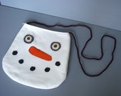 Snowman Purse Tote Whimsical Hand Applique Wool