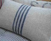 Vintage GRAINSACK Down Pillow/CoTTage DOWN PiLLoW/Cottage Blue Stripe/Paris Shabby Chic/Beach Pillow/Rustic Pillow