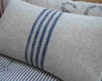 Vintage GRAINSACK Down Pillow/CoTTage DOWN PiLLoW/Cottage Blue Stripe/Paris Shabby Chic/Beach Pillow/Rustic Pillow