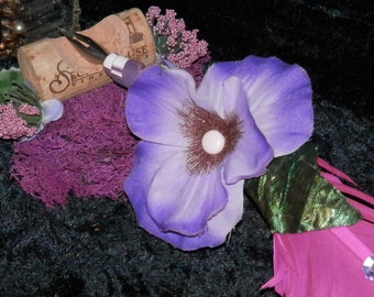 PURPLE PETUNIA Quill SET with Pink Feather Pen and Cork Pen Rest Handmade