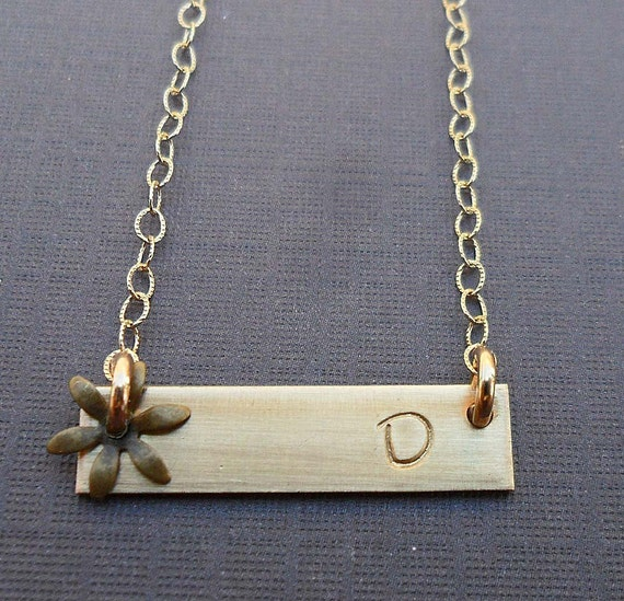 gold bar initial necklace with flower gold fill nameplate