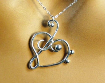Treble clef, heart sterling silver pendant and chain, gift
