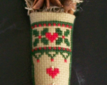 Cross Stitch Handstitched Heirloom Christmas Stocking Ornament on Fine Linen and Aida