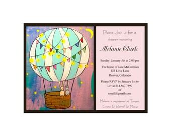 Customized Wedding/Baby Shower or Birthday Invitation Printable -Hot Air Balloon Themed Invite