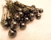 6 Dark Grey Pearl Bobby Pins - Swarovski Charcoal Gray pearls hair accessory set of six