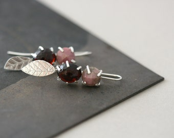 Garnet and Rhodonite Form Studs