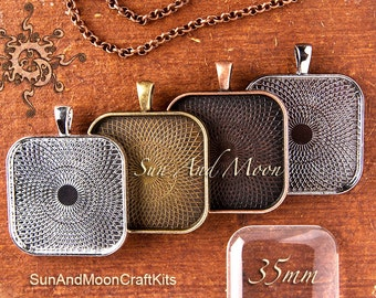 Pendant Tray Package ~ 10 (NEW) Textured 35mm Square Trays, 10 Clear GLASS Cabochons, 10 Necklaces ~ 35mm Square Glass Tiles ~ DIY Kit