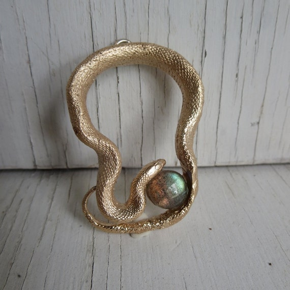 Golden Snake Pendant Necklace Garden Snake Labradorite Bronze C&S