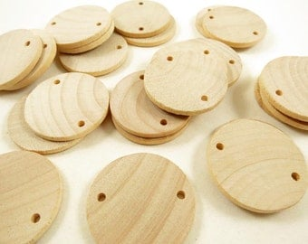 "25 Unfinished Wood Circles - Wooden Discs - Circles with Holes - DIY Family Birthday - Birthday board Tags - 1.5"" (3.8 cm) Diameter Pendant"