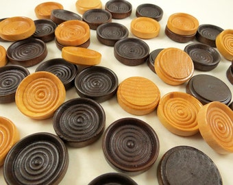 24 Wood Checkers, Wooden Discs - Walnut Checkers - Clear Checkers - 1 1/4 inch x 5/16 inch Wooden Checkers for DIY
