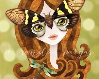 Gaeana Cicada Girl 8 x 10 inches Digital Illustration Art Print by Sandra Vargas