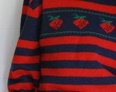 Vintage eighties  preppy sweater strawberries wool blend small
