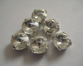 Lot of 6 SS34 or 7mm Crystal Rivoli Czech Preciosa Rhinestones in Silver Plated Sew on Settings