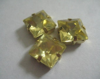 Lot of 3 10mm Jonquil Square W. German Rhinestones in Yellow Brass  Sew on Settings