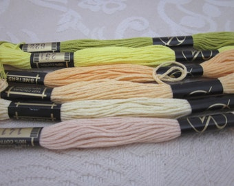 6 Skeins Mixed Yellow Green All Cotton Embroidery Thread Floss