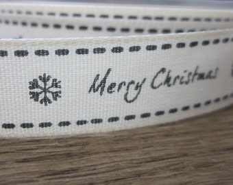 3 Metres Charcoal Black and White Merry Christmas Ribbon