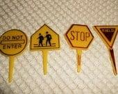 Vintage Plastic Road Sign Cupcake Picks