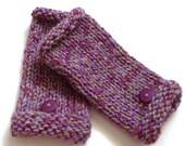 Knit Fingerless Mitts  - Purple Green Mix
