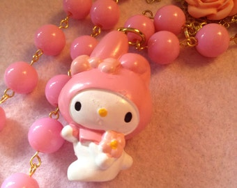 My Melody Big Character Pink Roses Bead Necklace