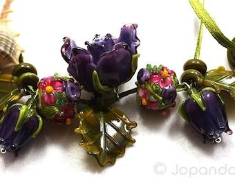 Lampwork by JOPANDA  Roses Dark Purple Romantic Necklace