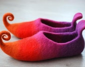 Fairy shoes felted home slippers felted from wool custom colors HANDMADE TO ORDER