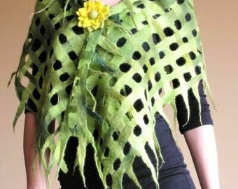 Felted cobweb scarf wrap shawl green from Merino wool thin and soft HANDMADE TO ORDER