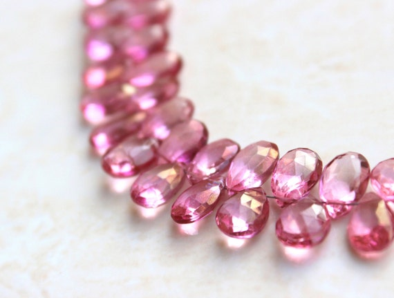 Pink Topaz Gemstone Briolette Faceted Pear Teardrop 10.5 to 11mm 5 beads