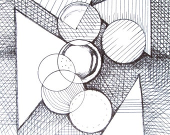Geometric Abstract Drawing Original
