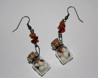Miniature Bottle Of Eyeballs Earrings - Copper