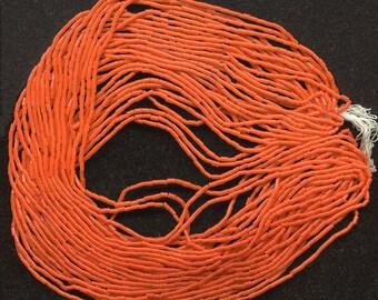 Vintage Orange Bugle Beads Micro Size 1 x 2.5mm Opaque Glass 1920s Large Hank